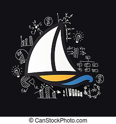 Drawing business formulas: sailboat