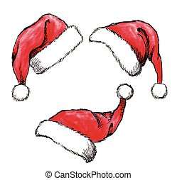 christmas hat - set of hand drawn christmas hat on white...