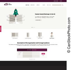 Flat design of the site to start up