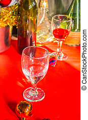 Glass put on background. - Glass put on a red background.