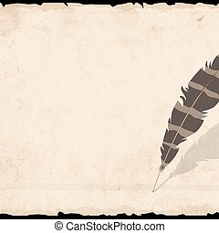 Old paper with  feather. Vector EPS10