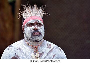 Aboriginal culture show in Queensland Australia - Portrait...