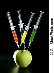 apple manipulation with syringes