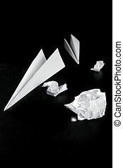 trash paper and air plane - Trash paper and air plane, bored...