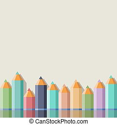 Background with color pencils. Vector illustration
