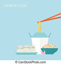 Chinese Food Background. Vector illustration