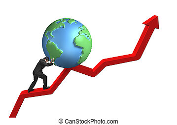 businessman pushing globe upward on red trend line with...
