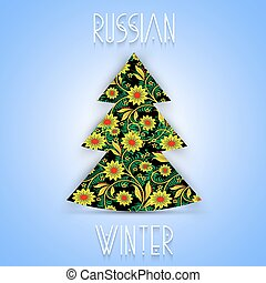 Christmas tree in Khokhloma-style National Russian handmade