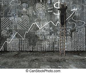 businessman climbing on ladder and drawing business concept...