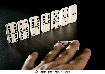 Domino game business metaphor of choosing the right way