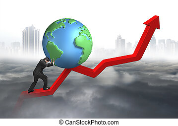 businessman pushing 3d globe at starting point of trend line...