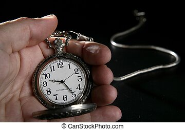 old silver pocket watch clock on human hand - Antique...