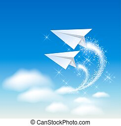 Paper airplane fly up in the sky and sparkle stars