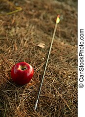 William tell metaphor with red apple and arrow in the forest