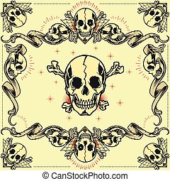 Skull and Ribbon Frames in old school tattoo style set 07....