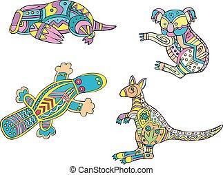 Motley koala, platypus and kangaroo Set of ethnic vector...