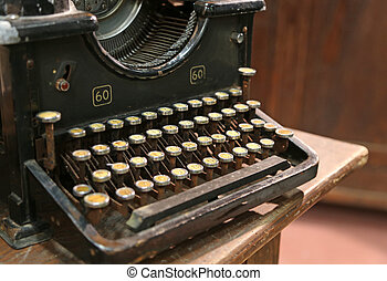 ancient rusty typewriter used by typists than once - ancient...