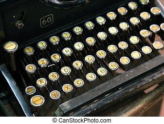 antique typewriter with white keys - very antique typewriter...