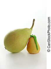 Pears over white background studio shoot