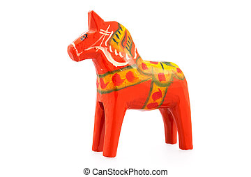 Swedish Dala horse - Traditional Dalecarlian horse or Dala...
