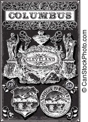 Vintage Blackboard Ohio Columbus Banners and Labels -...