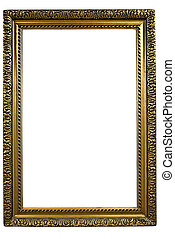 Picture Frame - Gold Frame on White Background