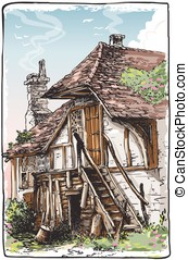 Vintage View of Fable House - Detailed Illustration of a...