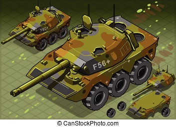 Isometric Tank Two Version - detailed illustration of a...