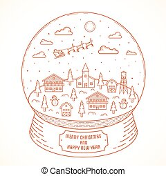 Line Style Christmas and New Year Vector Snowball Town Illustration With Greetings