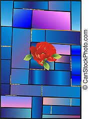 Stained glass and flower,
