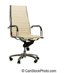 Modern office chair from beige leather Isolated