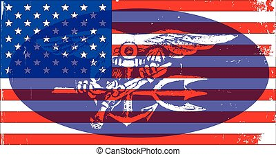 Navy Seal Badge and US Flag - Depiction of the US Navy Seal...