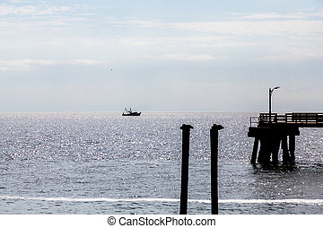 Pelicans Pier and Shrimp Boat silhouette - Pelicans on...