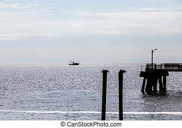 pelícanos, muelle, y, camarón, barco, silueta,...