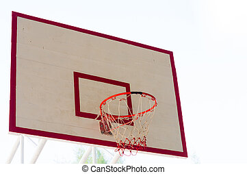 Basketball hoop on outdoor court