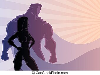 Superhero Couple 3 - Illustration of superhero couple No...