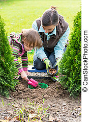 Mother and daughter planting tulip bulbs - Gardening,...