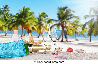 champaña, Flautas, en, soleado, playa,