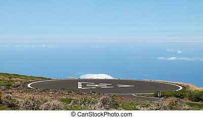 Heliport in the mountain. Spain. Canary Islands. La Palma....