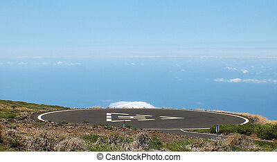 Heliport in the mountain. Spain. Canary Islands. La Palma....