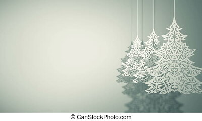 Swinging three Christmas trees paper decorations