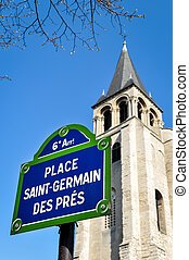 lugar, Saint-Germain, des, pres, em, Paris,