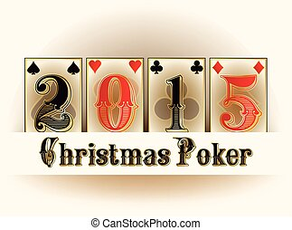 Happy Christmas Casino poker cards, vector illustration