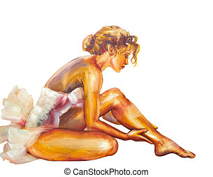 Beautiful sitting ballerina Oil painting