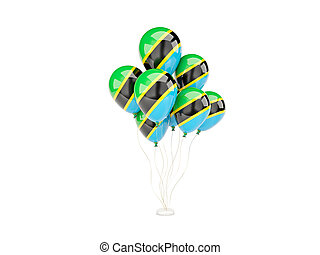 Flying balloons with flag of tanzania isolated on white