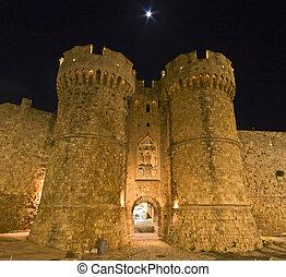 Templar, 騎士, 城堡, rhodes, 島, 希臘