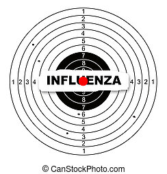 influenza - Shooting target with word influenza made in 2d...