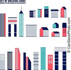 Skyscraper building web icon set - Skyscraper building icon...