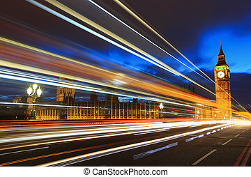 Big Ben London at night - Big Ben and London at night with...