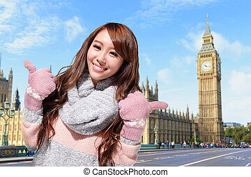 Happy woman travel in london with Big Ben in United Kingdom,...